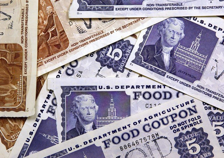 Pile of old paper food stamps