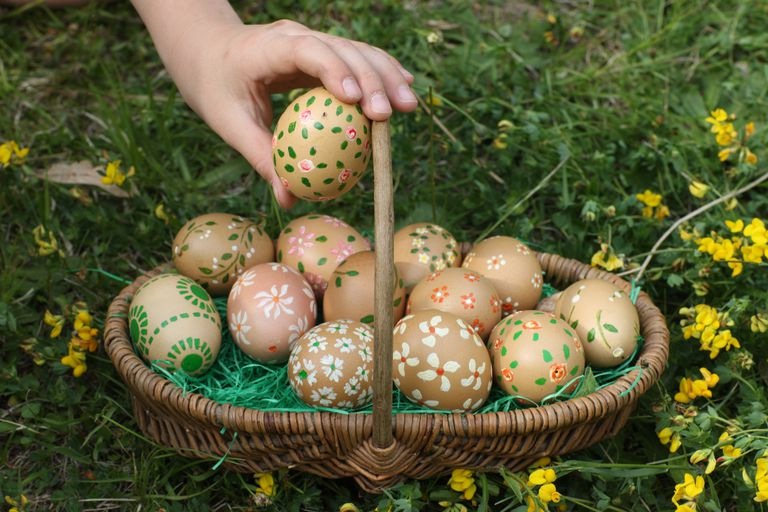 Easter eggs in a basket.