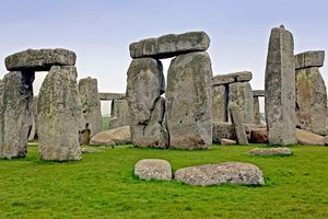 Stonehenge, famous Neolithic site, on a sunny day.