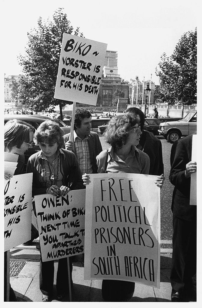 A group of anti-apartheid demonstrators protesting