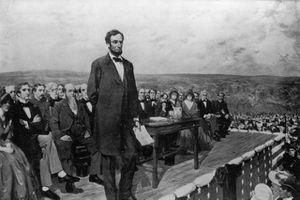 Artist's depiction of Lincoln's Gettysburg Address