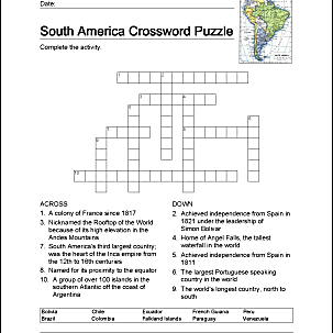 South America Word Search Crossword Puzzle And More - Crossword-puzzle-maps-in-us-history-answers