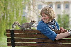 Woman and squirrel on a park bench in an urban area
