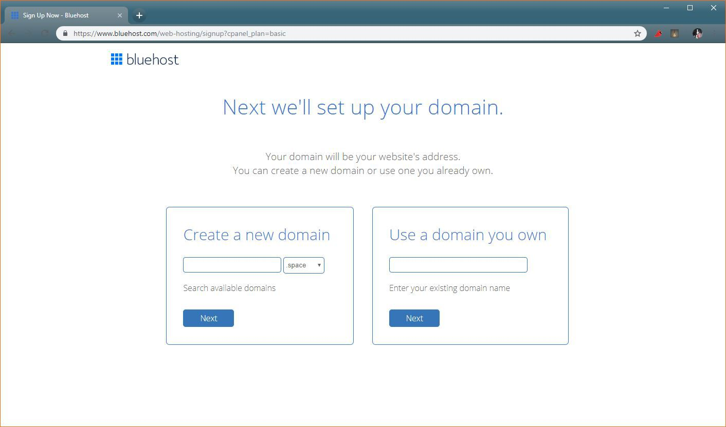 A screenshot of the free domain name selection process on Bluehost.