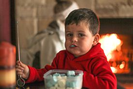 Young boy roasting marshmallows with his mother