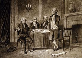 Drawing of the Continental Congress leaders, including Alexander Hamilton