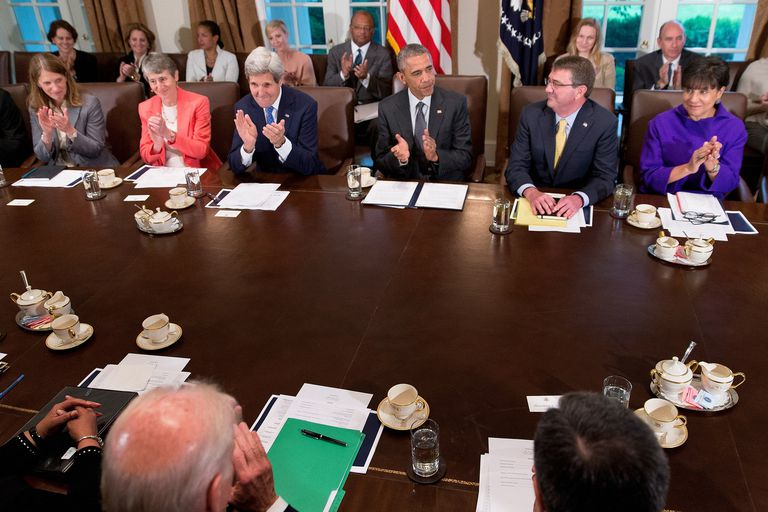 President Obama meeting with his Cabinet Secretaries in the White House