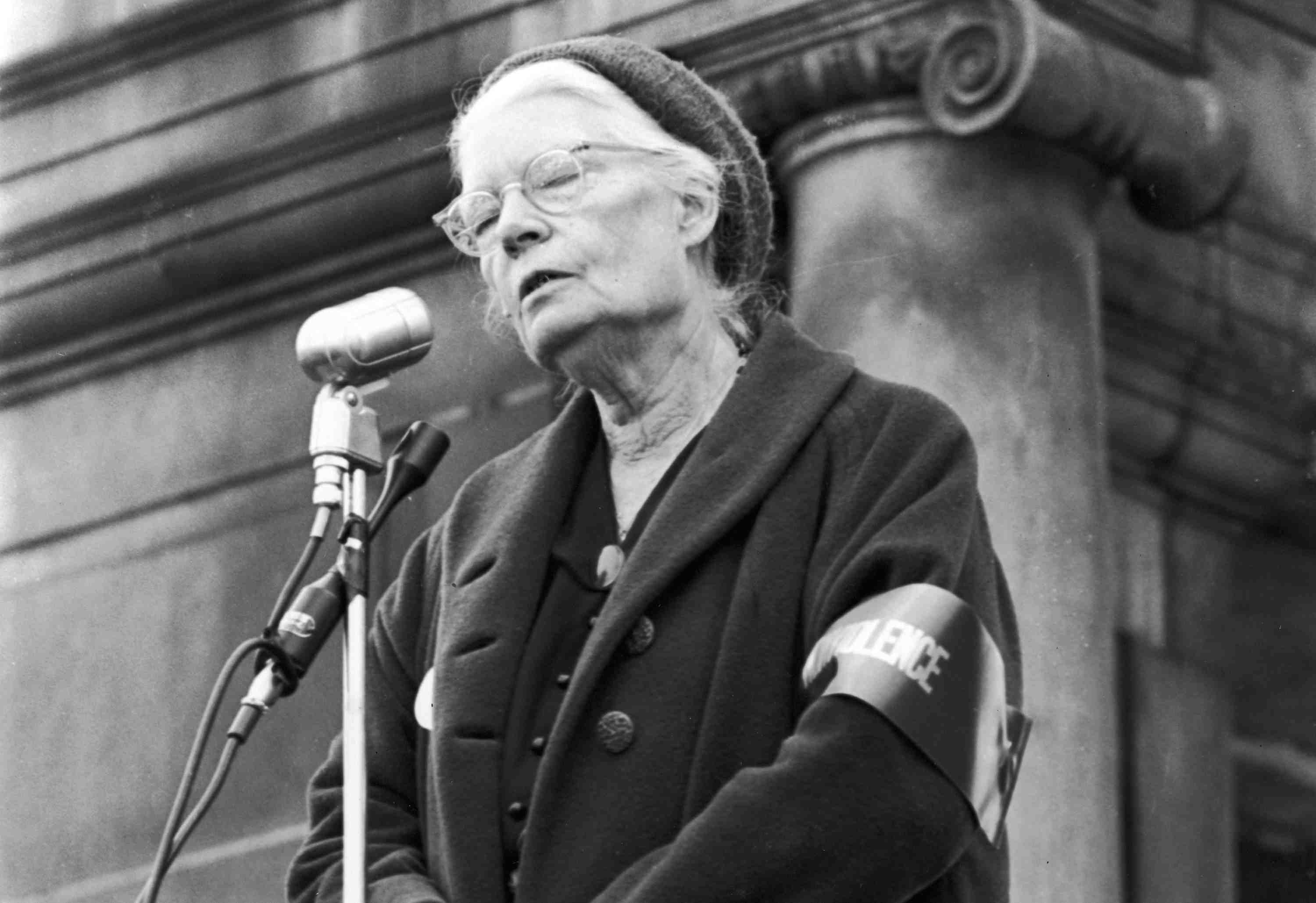 Photograph of Dorothy Day an an antiwar rally.