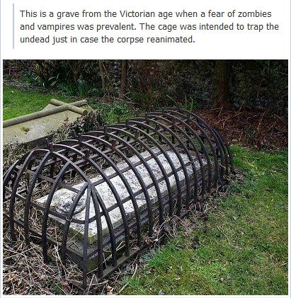 photo of a victorian grave cage urban legends