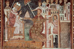 The Donation of Constantine, The emperor makes donation from the city of Rome to Pope Sylvester I, Fresco, 13th century, Chapel of St, Sylvester, Basilica of Four Crowned Saints, Rome, Italy.