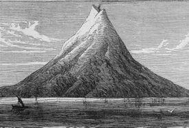 Illustration of volcanic island of Krakatoa before it blew apart.
