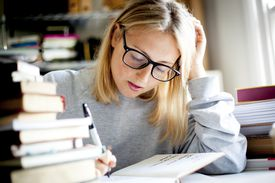 young women studying / working in home office
