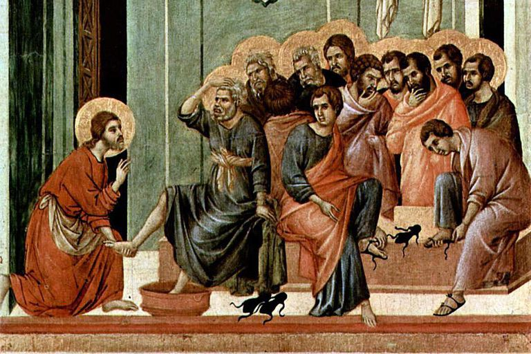 Washing of the Feet, painting of Altar of Siena Cathedral in 14th century