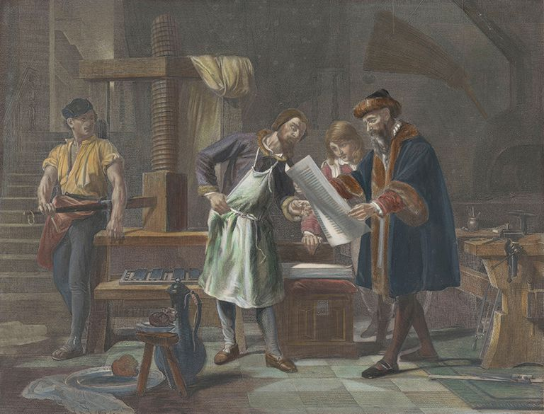 Johannes Gutenberg (right) viewing a newly printed sheet