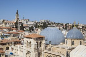 Israel, Jerusalem, Old City, View of Christian Quarter and Church of Holy Sepulchre