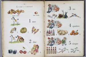 Pages of First pages, illustrated childrens book, Mondadori, Milan, 1940s, Italy, 20th century