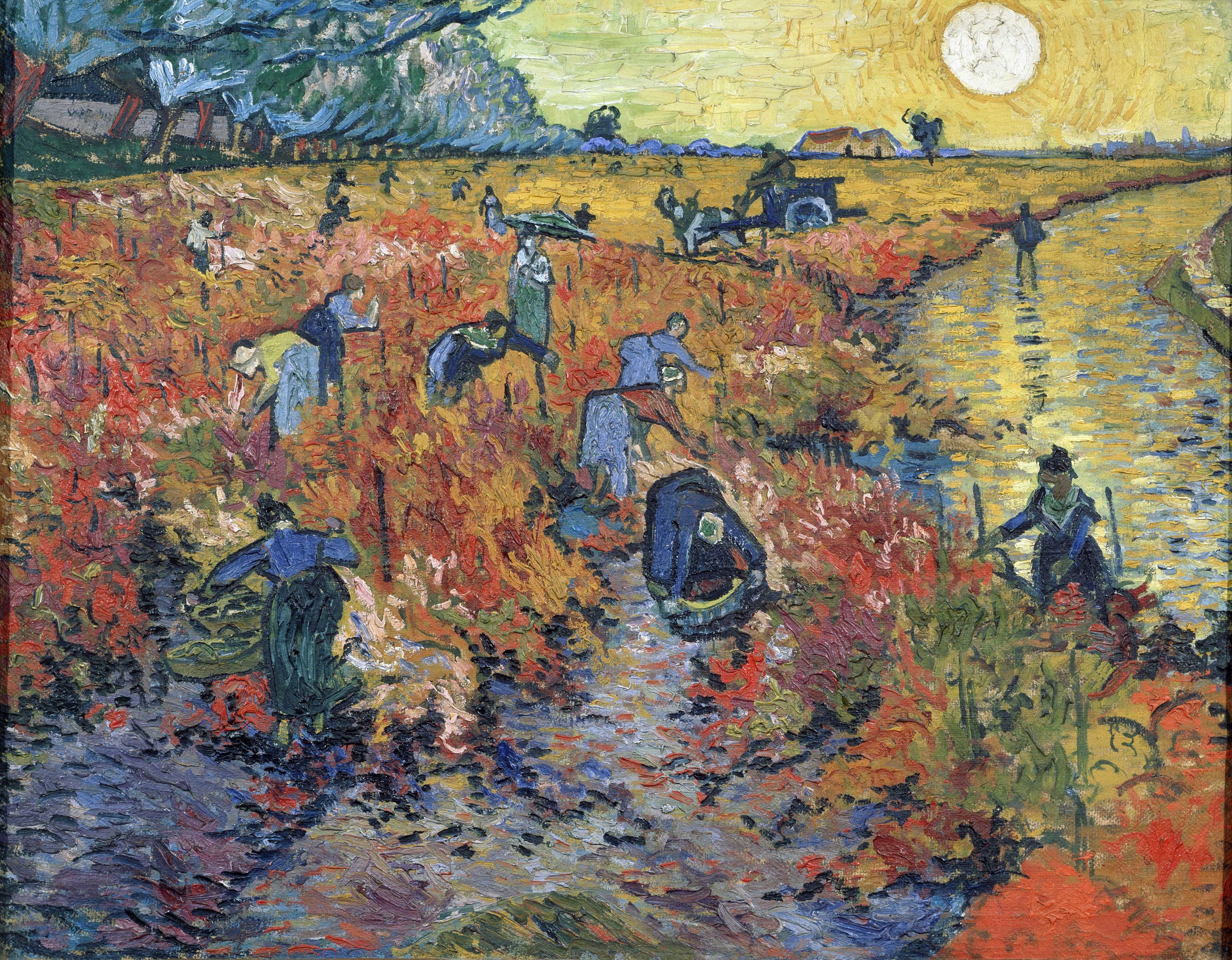 An enormous yellow sun shines over a red field, a dappled stream, and field workers dressed in blue.
