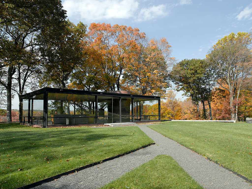 Fall view of Philip Johnson Glass House, New Canaan, Connecticut