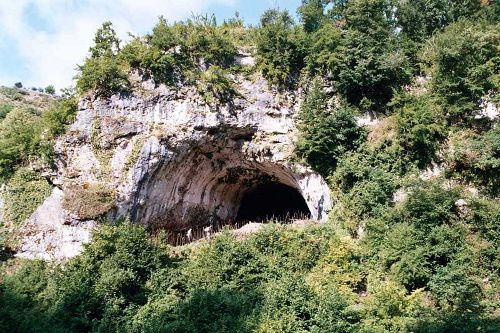 An outside view of the Dzudzuana cave in Georgia