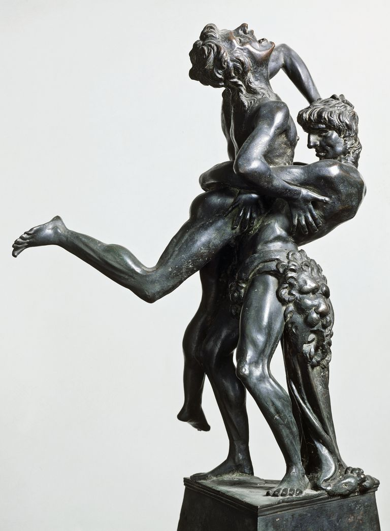 Hercules and Antaeus, ca 1475, by Antonio Pollaiuolo (1431 or 1432-1498), bronze statue, 46 cm, Italy, 15th century