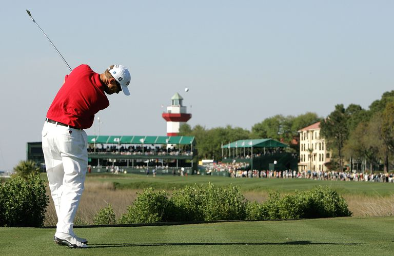 Davis Love III hits his tee shot on the 18th hole during the first round of the Heritage at Harbour Town Golf Links on April 17, 2008