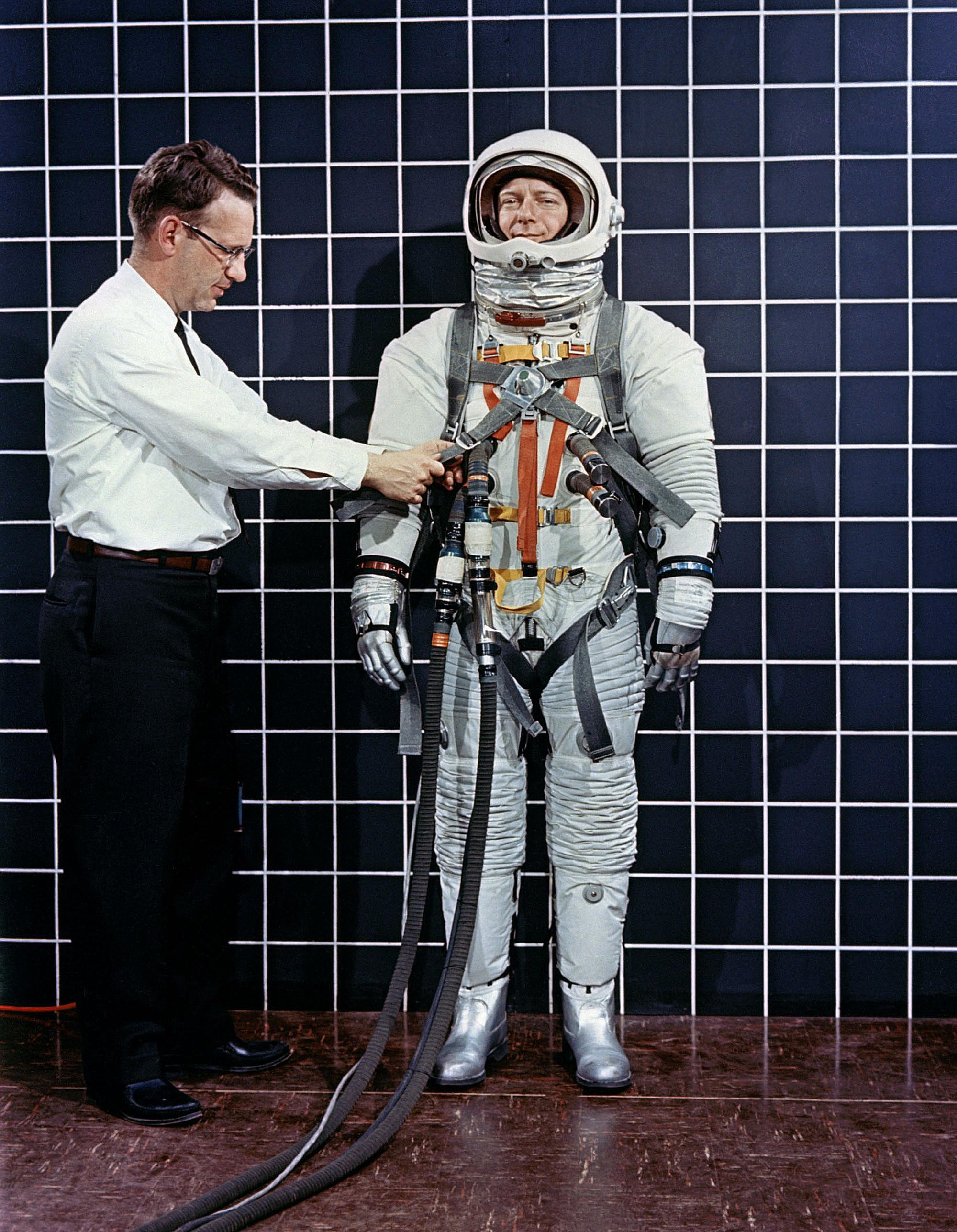 Space suit A-3H-024 with Lunar Excursion Module astronaut restraint harness