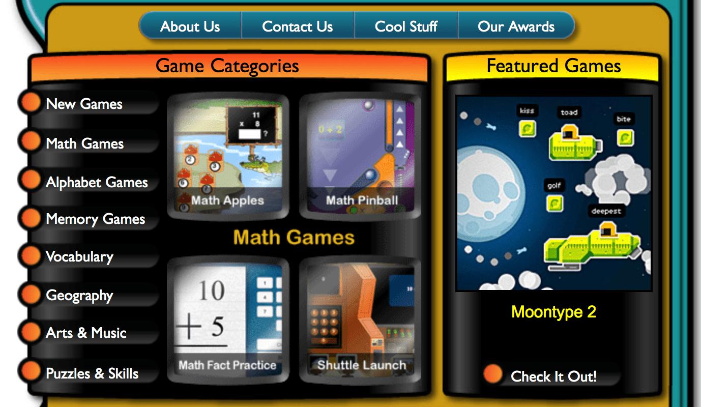 Math games website navigation.