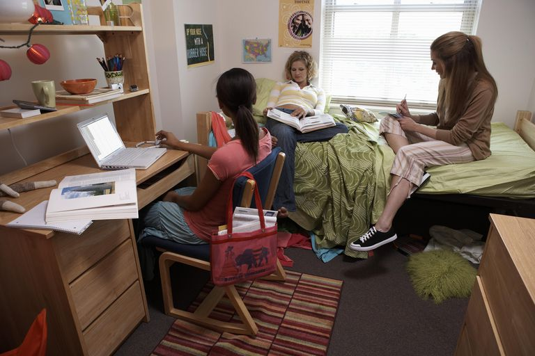 Three young women in student dormitory