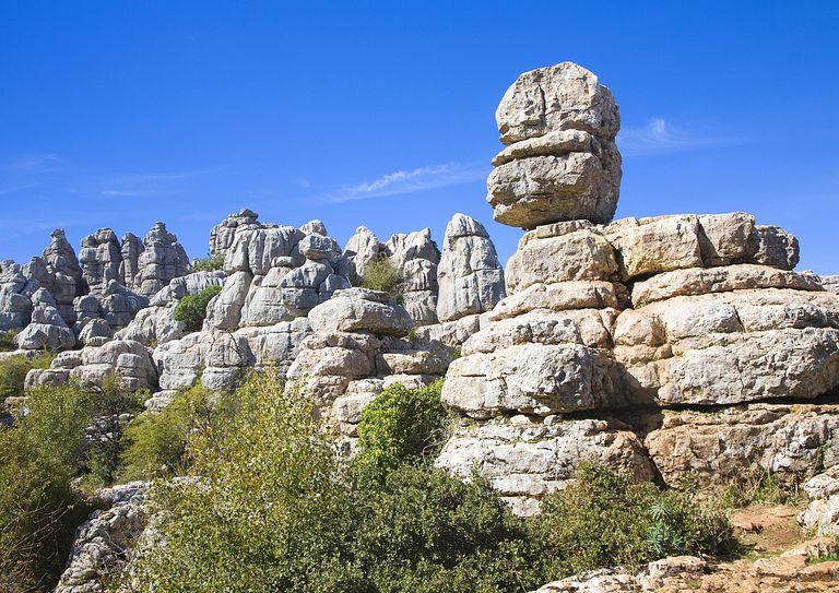 Dramatic limestone scenery of rocks shaped