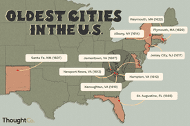 Illustrated map depicting oldest cities in the U.S.