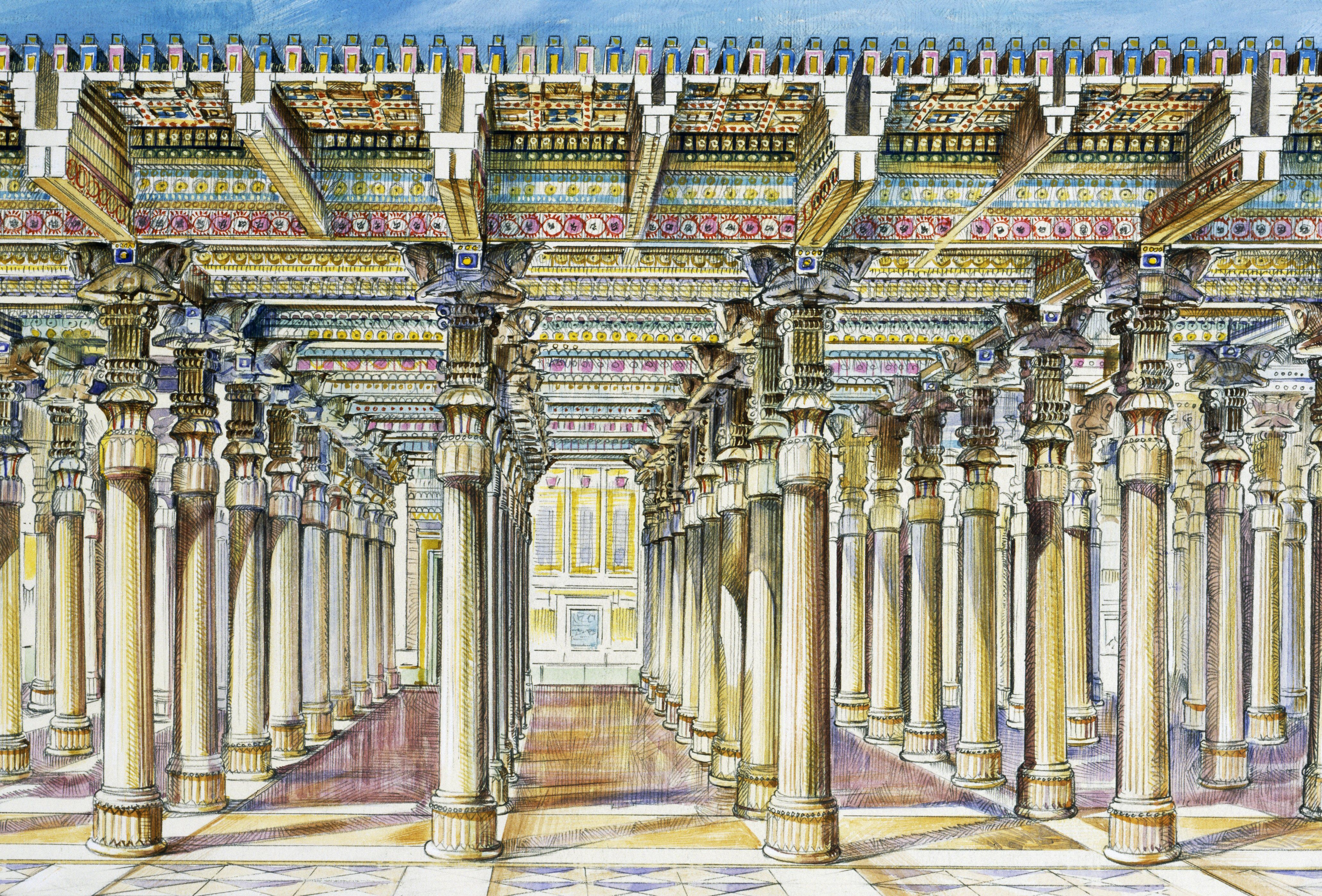 conjectured look of ancient hall filled with columns and colorful mosaics