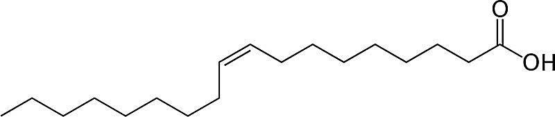 Esta es la estructura química del ácido oleico.