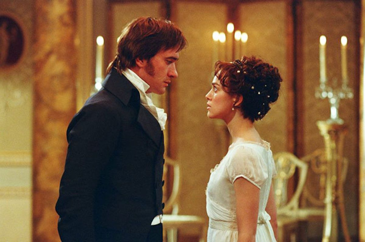 Elizabeth and Mr. Darcy staring each other down at the Netherfield ball