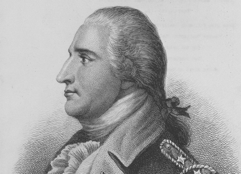 Engraving of Benedict Arnold in his Continental Army uniform.