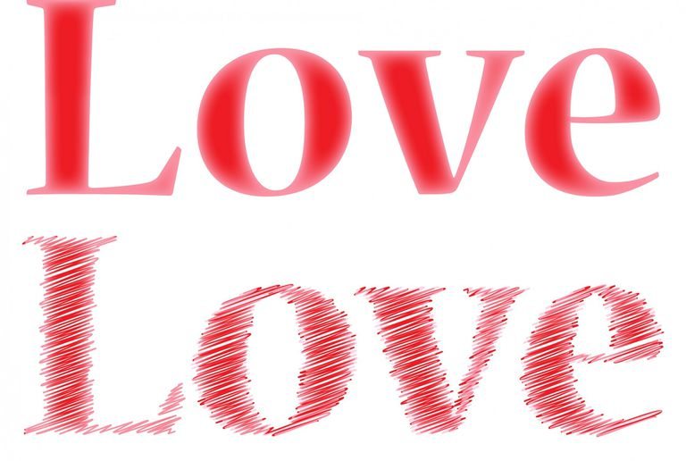 """Love love"" on awhitebackground."