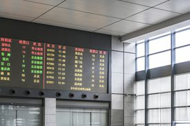 Electronic departure boards at a train station in China