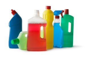 Cleaning products isolated on white background