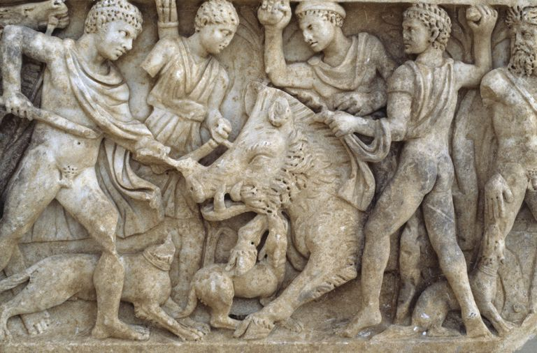 Carved depiction of an ancient boar hunt