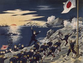 Japanese troops land on the Liaodong Peninsula during the Russo-Japanese War. May 5, 1904