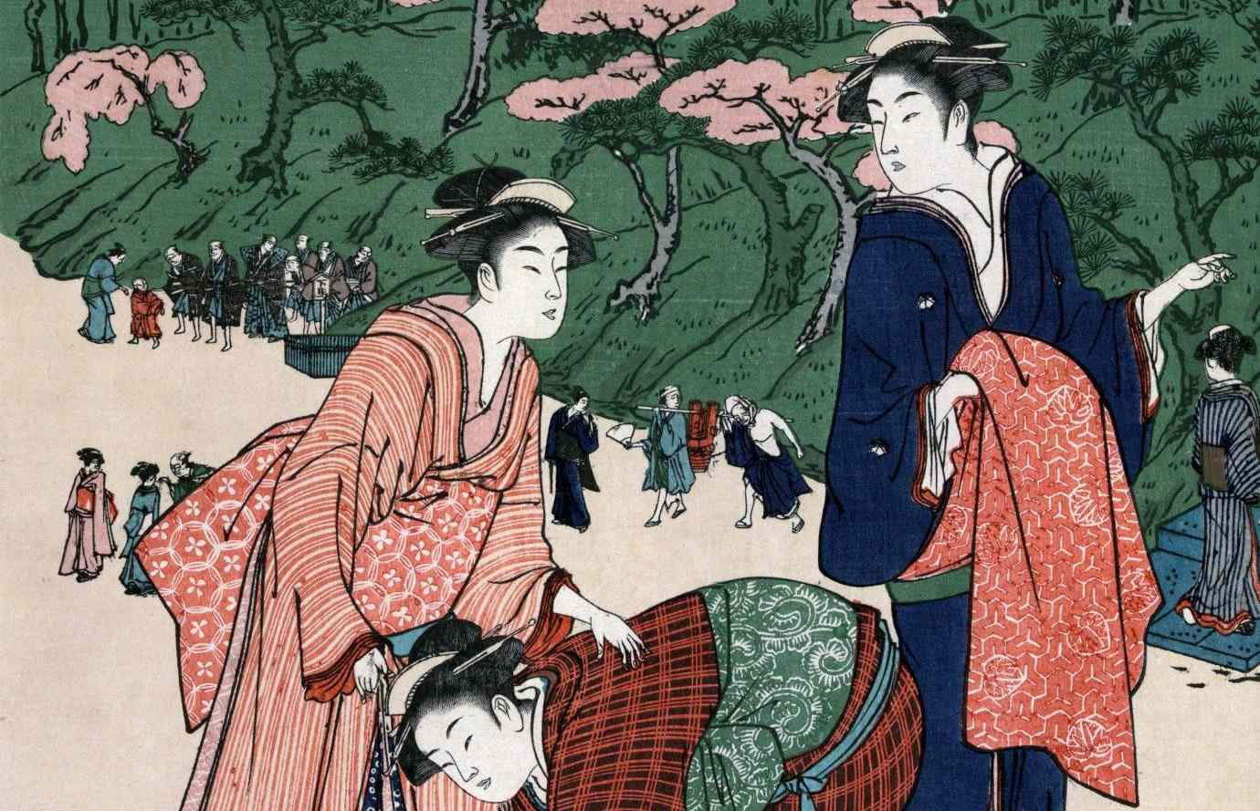Color sketch of Japanese women with elaborate yoko-hyogo hairstyles.