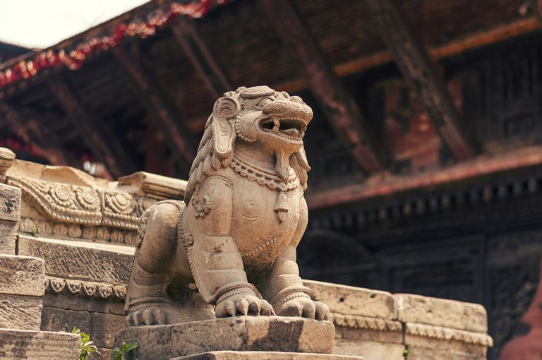 Ancient lion statue from bhaktapur durbar square nepal