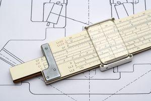 Slide rule on a mechanical drawing