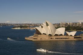 Sydney Opera House complex juts out into the Australian waters of Sydney Harbour