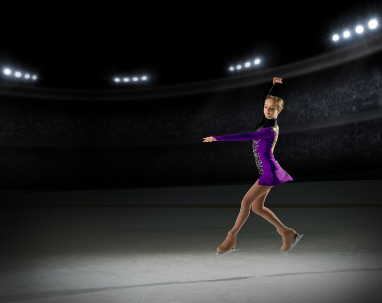 Ice skater performing in an arena