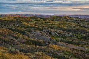 view of grassy hills in Saskatchewan