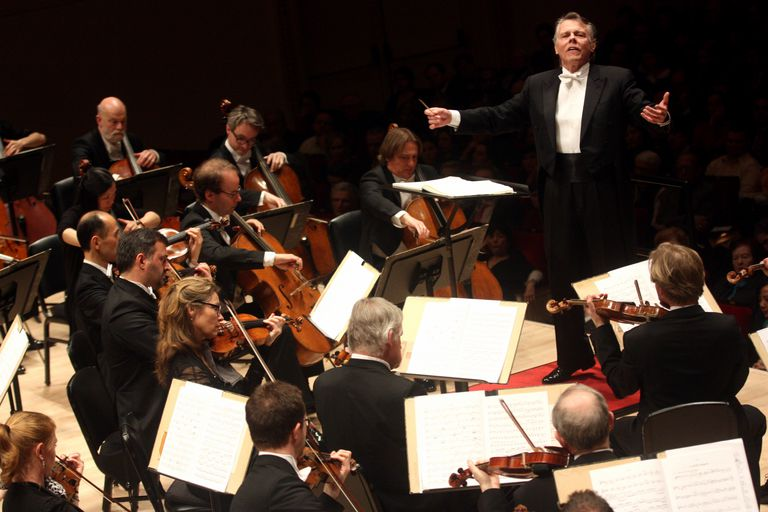 Mariss Jansons leading the Royal Concertgebouw Orchestra in the program of Strauss and Bruckner at Carnegie Hall on Thursday night, February 14, 2013.