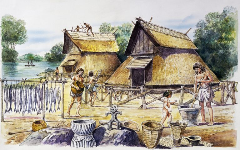 Illustration of late Jomon period village