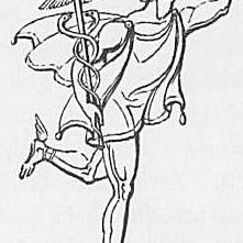 Ein Bild des Gottes Merkur oder Hermes aus Keightleys Mythologie, 1852.