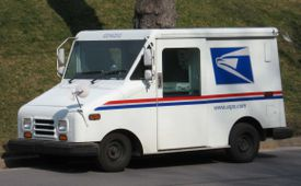 A USPS mail truck in the United States.