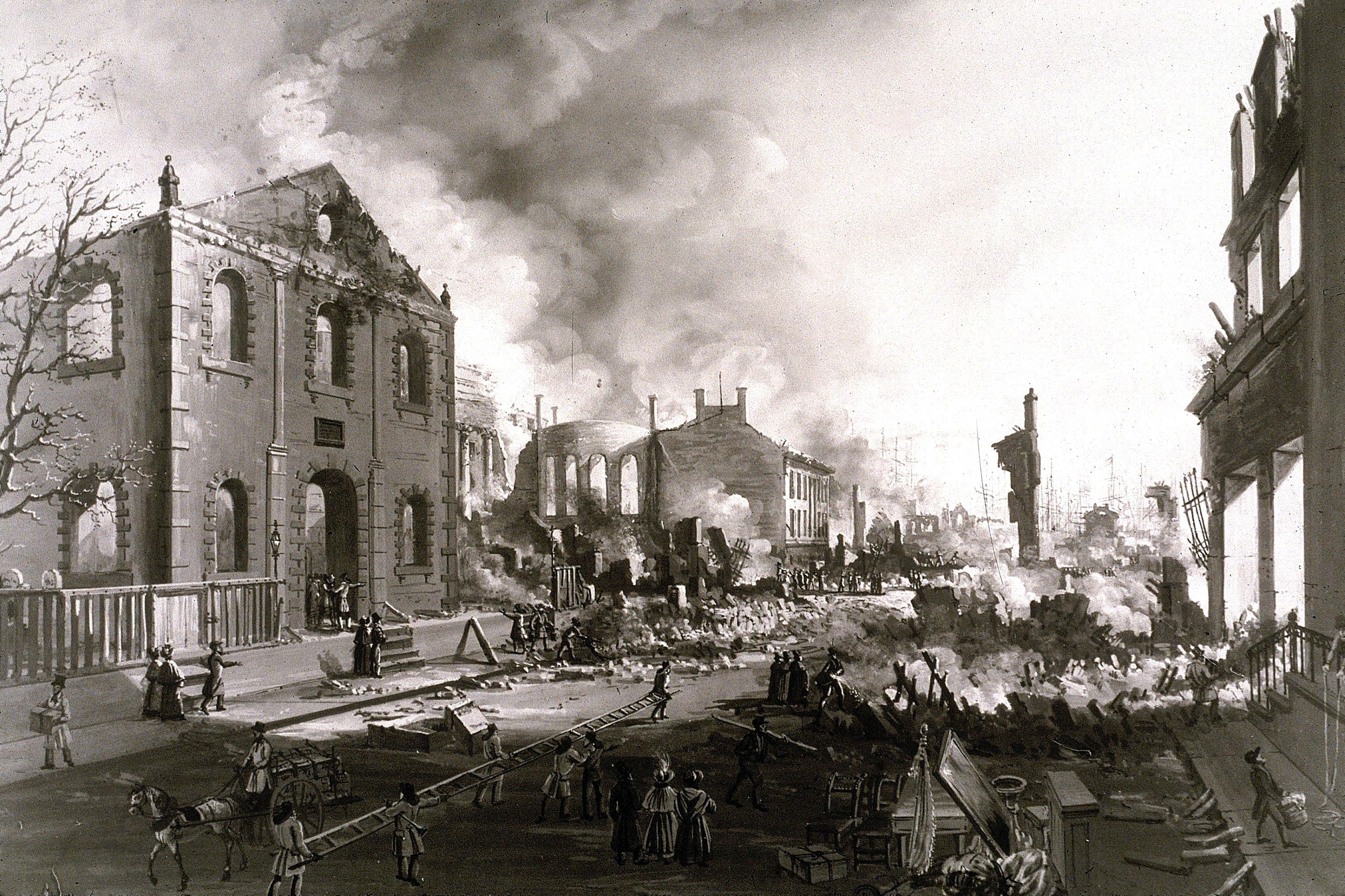 Print showing devastation from New York's Great Fire of 1835, which destroyed much of lower Manhattan